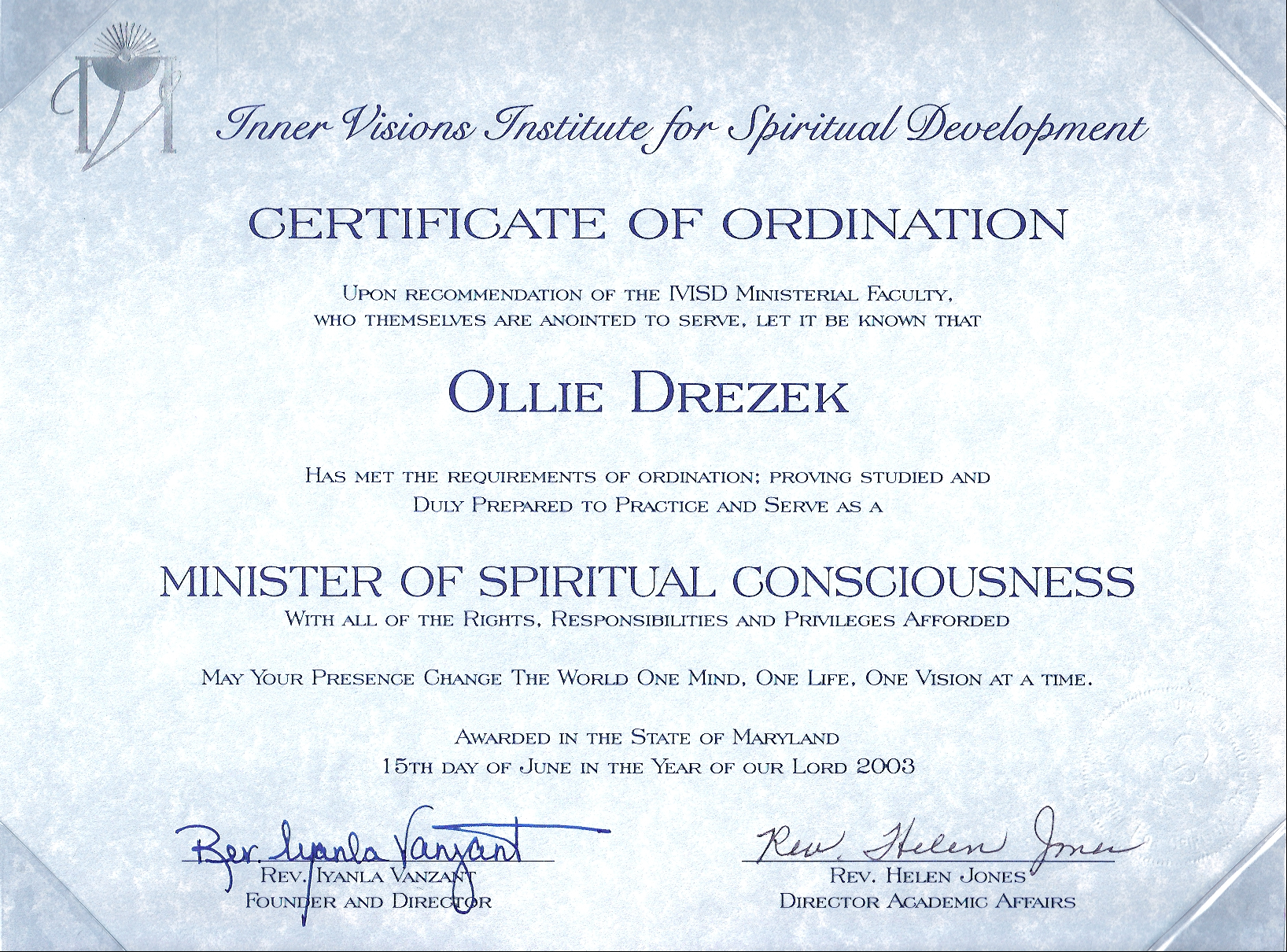 My certificate of ordination ollies spiritual seminars photo gallery my certificate of ordination 1betcityfo Image collections